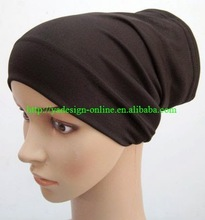 30pcs/lot PLAIN elastic polyester/COTTON white black MUSLIM INNER CAP,UNDERSCARF