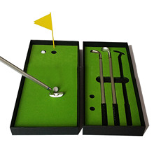 3 Colors Red Black Blue Metal Golf Club Ball Point Pen Set with Golf Balls Flag Desktop Golf Toy Christmas Gift for Golf Lovers