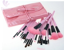 Factory Supply synthetic hair makeup brush set 24 pcs professional Pink make up brushes set goat hair with pink leather bag