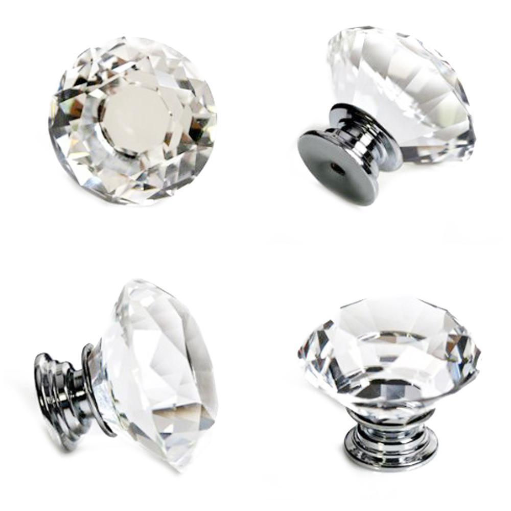 16 X LS-D3020 40MM Clear Glass Diamond Cut Door Knobs Cabinet Drawer knobs+Screw Home Decorating,Crystal Glass Door Knobs<br><br>Aliexpress