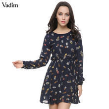 Women color feather print dress summer vintage Navy chiffon mini A line dress O neck long sleeve casual  Vestido feminina QZ737