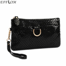 Fashion Cheap Women Bags Genuine Leather Suede Clutch Purse Leisure Serpentine Day Clutches With Wristlet Small Hand Bag Black(China)