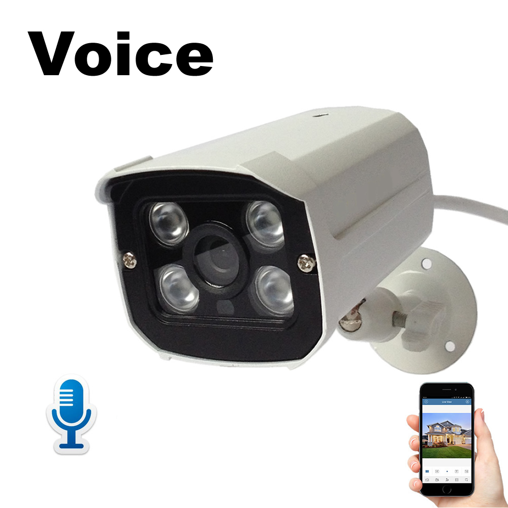 IP Camera Audio with Microphone 1080P Voice &amp; Video Monitor 2MP Waterproof Surveillance Security Camera for Home Safe ONVIF P2P<br>