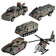 BOHS 5pcs Mini Car Military Suit Helicopter Tank Armored Vehicle Model Toy, 5pcs(China)