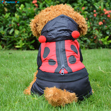 Cute  Stereo Ladybug Design Windproof Dog Jumpsuit Winter Pet Big Dogs Hoodie Coat Clothing