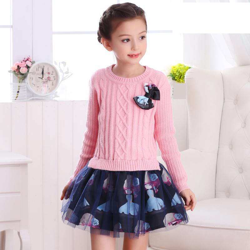 2017 Brand New Fall Girls Knitted Dress Princess Dress For School Big Kids Red Pink Winter Sweater Dresses Vetement Fille 13 14<br>