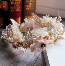 New Crown Continental Baroque Shell Simulation Flower Bridal Headdress Rhinestone Tiara Wedding Dress Accessories Jewelry Beach