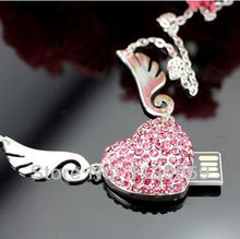 0!100% real capacity  girls Angel wing usb Flash Drive diamond crystal heart 16GB  /pen /flash drive usb flash drive S216
