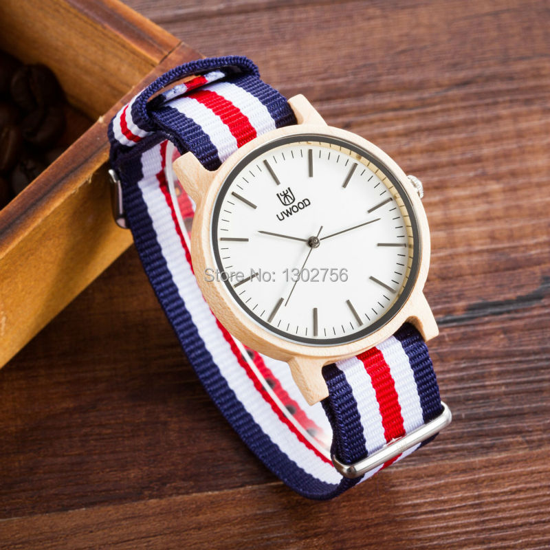 New Style 100% Real Wthie Maple Wood Nylon Band Quartz Watch Famous Brand Uwood Japan MIYOTA Movement Wooden Watch Free Shipping<br>