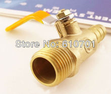 "Brass Pipe Ball Valve 3/8"" BSPT Male x 8mm Hose Barb Connection Air Water Gas(China)"