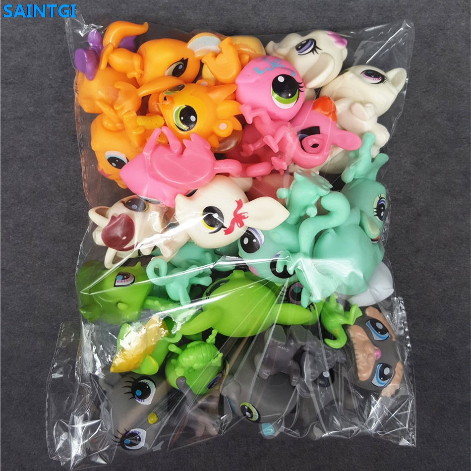 SAINTGI Toy bag 30Pcs/bag random Little Pet Shop LPS Toys Animal Cartoon Cat Dog Action Figures Collection Kids toys Gift(China)