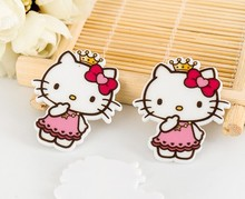 10pcs FlatBack 3cm Resin Cabochon Artificial Miniature Kitty bow Hello Crown Flat Back DIY Embellishment Scrapbooking Decor E344