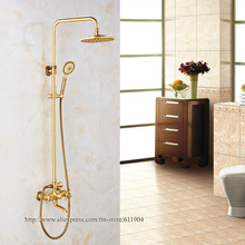 New Arrival Totally Brass Bathroom shower set Rainfall 8 inch Shower Head Mixer Tub Faucet Shower Set Luxury 1G11001