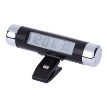LCD Display Mini Portable Car Clock Blue Back-lit Digital Car Clock Thermometer Air-Condition vent auto clock car styling