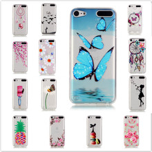 for apple ipod touch 6 case Colorful Macarons girl relief transparent Design butterfly soft silicone gel Cover For iPod Touch 5(China)