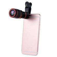 Universal 12X Zoom Mobile Phone Clip-on Retractable Telescope Camera Lens for iPhone 6S 6 plus Samsung S7 S6 Smartphones(China)