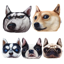 3D Printed Dog Face Car Seat Pillow Car Neck Pillow Headrest Lovely Auto Safety Headrest Car Interior D(China)