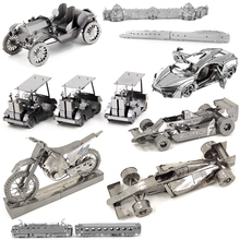 3D Metal Puzzles for children Adults Model Jigsaw Super car EF510 train vintage vehicle Golf Cart Rail train Metal puzzles toy