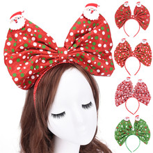 2018 Big Bow Hairband New Christmas Hair Accessories Headband Large Hair Bow Hair Bands Headwear for Girls Women(China)
