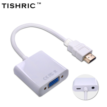 TISHRIC For HDMI to VGA Cable With Audio Power Adapter Male To Female Video Converter 1080P For HDMI2VGA  PC Laptop PS3/4 STB