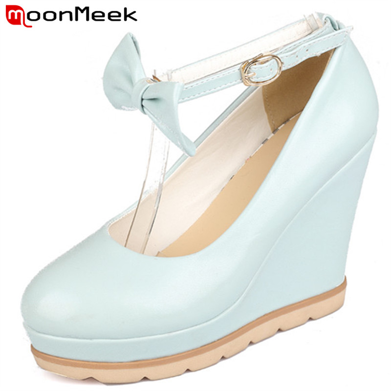 Plus size 34-41 New wedges women pumps high heels with bowtie solid white blue and pink wedge fashion wedding club shoes<br><br>Aliexpress