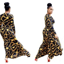 Hot Sale New Fashion Design Traditional African Clothing Maxi Dress Plus Size Print Dashiki Nice Neck African Dresses For Women