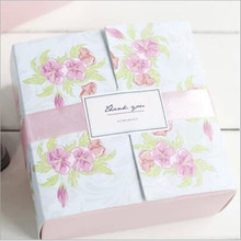 10piece Pink Flower Backing Food Carton Boxes, Cookies Boxes, Chocolate Packaging Box, Wedding Gift Box for Guest 12*12*5cm
