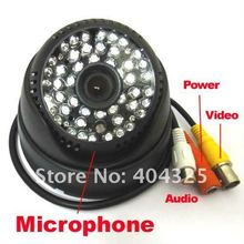 "1/4"" 420TVL Sharp CCD Color Indoor Dome Indoor CCTV Security Audio Camera MIC 48 IR Leds Day & Night"