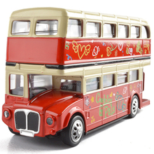 Alloy 1:28 London Bus Double Decker Bus Light&Music Open Door Design Toys Car Metal Diecast Londoners Toys For Children Gifts(China)