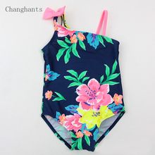 Baby Swimwear Girls Dark Blue with Flowers Pattern 2-7 Y Kids one piece Swimsuit Children Swimming wear Bathing suit sw0820
