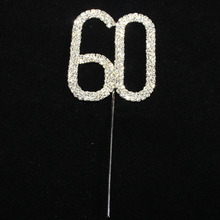 Rhinestone Crystal Cake Topper Number Pick 60 70 80 90 100 Birthday Anniversary Cake Decoration Centerpieces