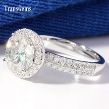 TransGems 2 Carat Lab Grown Moissanite Wedding Engagement Ring with Real Diamond Accents in 14K White Gold for Women