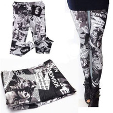 New women sexy Legging pants digita Print Letter Newspaper Leggings Black milk for women Free Shipping