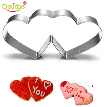 Delidge 1 pcs Imperial Crown Tie Candy Double Heart Shape Cookie Molds Stainless Steel Weeding Series Cookie Cutter Baking Tolls(China)