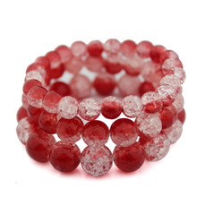 Buy Handmade Red Crack Quartz Crystal Bracelets Natural Stone Lava Round Beads Elasticity Rope Hand Strings Jewelry for $1.17 in AliExpress store