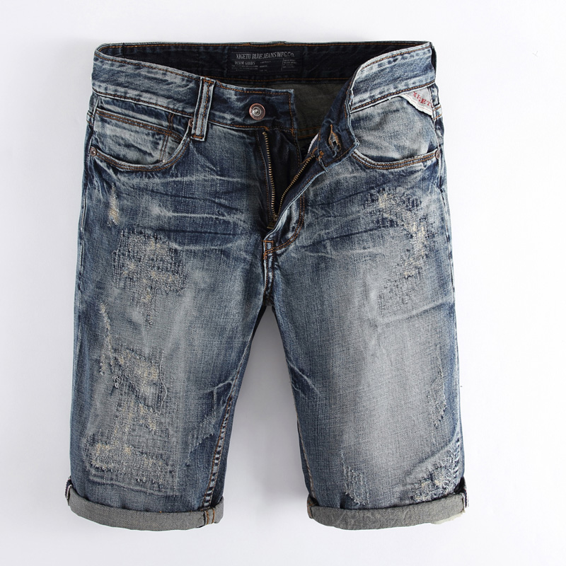 Italian Style Fashion Mens Jeans Shorts Retro Design Summer Denim Shorts Men Brand Short Ripped Jeans For Men Plus Size 29-38Îäåæäà è àêñåññóàðû<br><br>