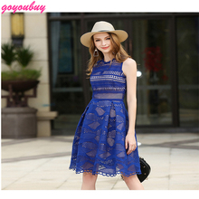 go you buy  European 2017 new high-end lace hollow-out the a-line sleeveless dress Fashion lace dress 9374