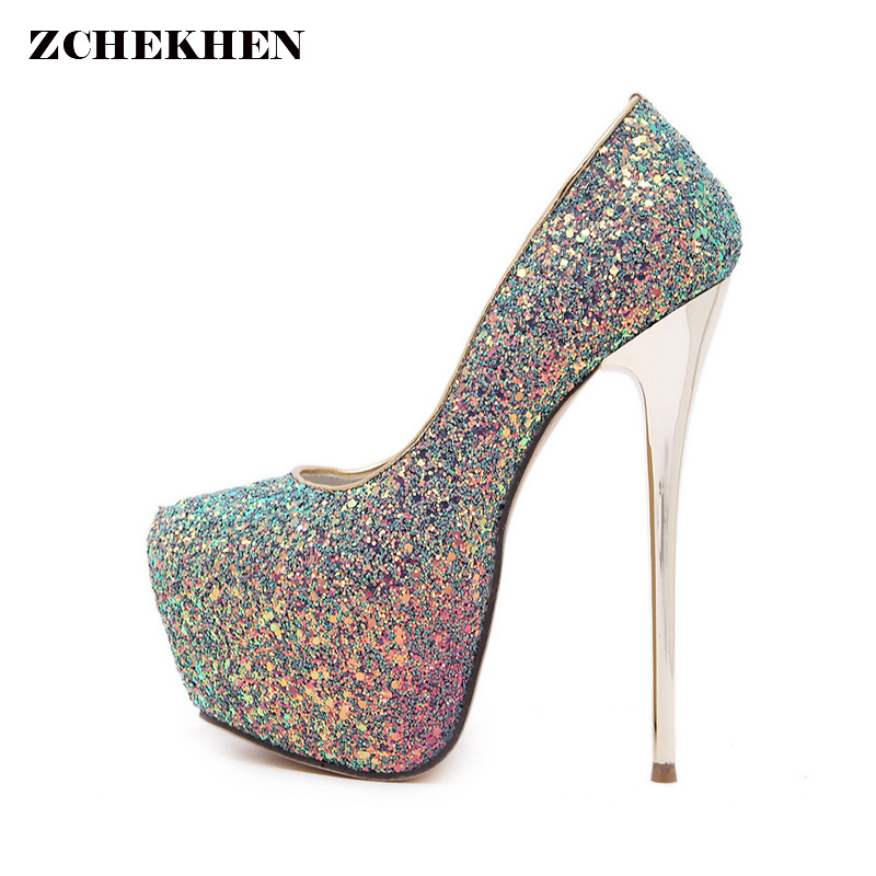 Women Pumps Sexy Platform High Heel Shoes Extreme Silver Heels Lady Thin Heels Platform Pumps Shoes Woman<br>
