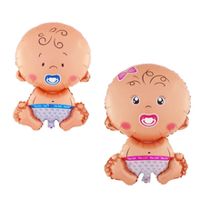1pc Lovely Cartoon Baby Boy Foil Balloon Infant Girl Helium Balloon for Kids Child Happy Birthday Party Decoration, Blue or Pink(China)