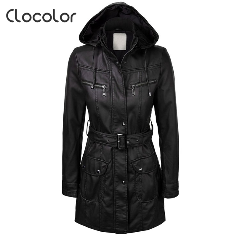 Clocolor Warm Womens Winter Jacket 2017 New Fashion Zipper Hooded Long Sleeve Coat Female with Belt Black Ladies OutwearОдежда и ак�е��уары<br><br><br>Aliexpress