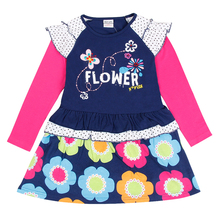 Nova kids brand baby's clothes girls dresses high quality hot selling winter flower printed kids dresses children frocks