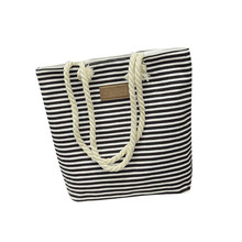 2017 New Women Design Print Casual Striped Canvas Handbag Girls Shoulder Bag Ladies Portable Shopping Tote Female Book Bag