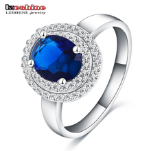 LZESHINE New Arrival Promise Rings Silver Color Micro Inlay Cubic Zircon Blue Color Rings Fashion Jewelry Anillos CRI0126-B(China)