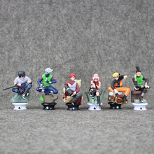 Cartoon Anime Naruto Figura  6pcs/set 9cm Uzumaki Naruto Sasuke Gaara Kakashi Chess Action Figure Collection Toys amp Hobbies