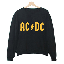 Black/Whie/Grey Print Letter Hoodies Women Music Letter AC/DC Band Rock Hip Hop Sweatshirt Casual Tracksuit Tops W-F11323