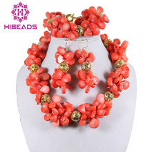 African Nigerian Wedding Red Coral Beads Jewelry Set Costume African Jewelry Set Free Shipping CJ066(China)