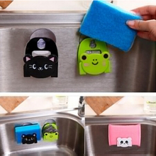 Cute Cartoon Bear Wall Mounted type Bath Storage Box Animal Cat Soap bar Holder Kitchen Tools Sponge Drain Shelf Bag EJ879675(China)