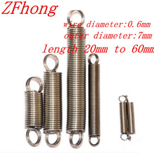 20PCS 0.6 x 7mm 0.6mm stainless steel Tension spring with a hook extension spring length 15mm to 60mm