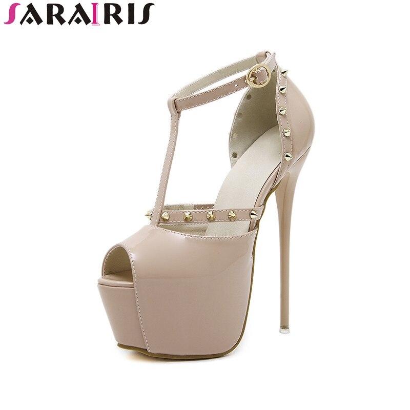 SARAIRIS 2018 summer new brand super high thin heels sandals thick platform rivet shoes woman big size 34-40 party lady shoe<br>