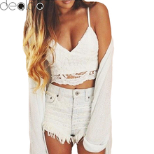 Vintage Lace Camisole Bandage Backless Top 2017 Summer Fashion Women Crop Top Halter Crochet Tops Deep V Neck Bralette(China)